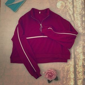 Red cropped tracksuit